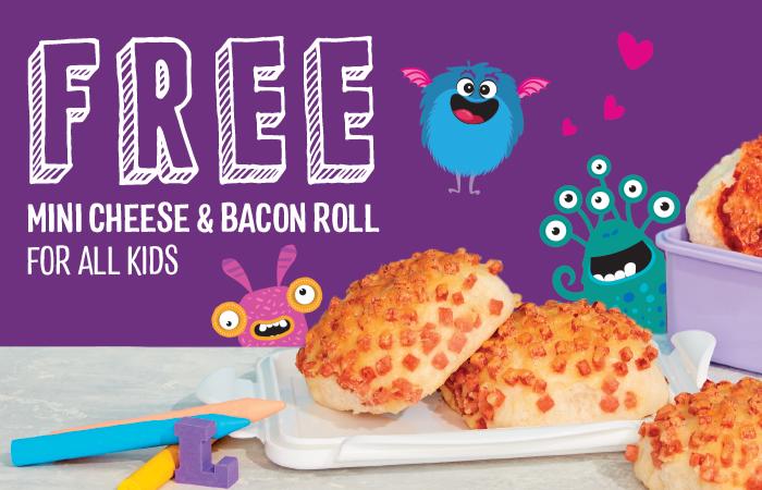 Free mini cheese & bacon roll