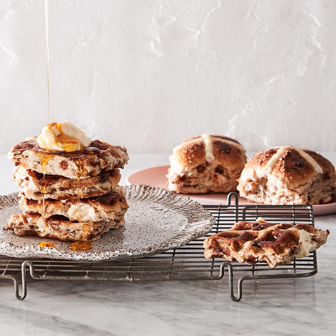 Apple & Cinnamon Hot Cross Bun Waffles!
